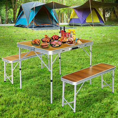 Aluminium Folding Picnic Table + Chairs Set BBQ Camping Table Outdoor Portable • 49.16£