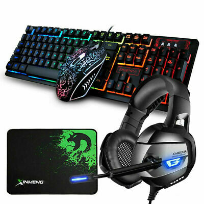 AU68.99 • Buy Gaming Keyboard And Mouse + Headset Combo LED Backlit For PC Laptop PS4 Xbox One