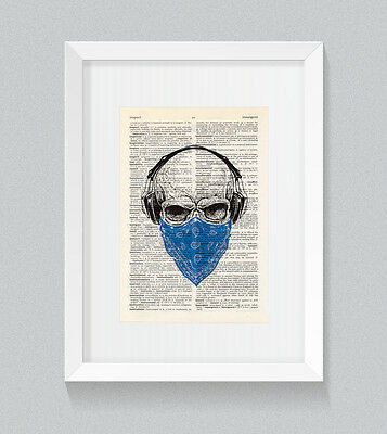 Blue Skull Headphones Bandana Vintage Dictionary Book Print Wall Art • 5£