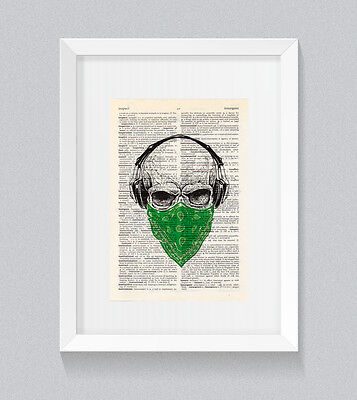Green Skull Headphones Bandana Vintage Dictionary Book Print Wall Art • 5£