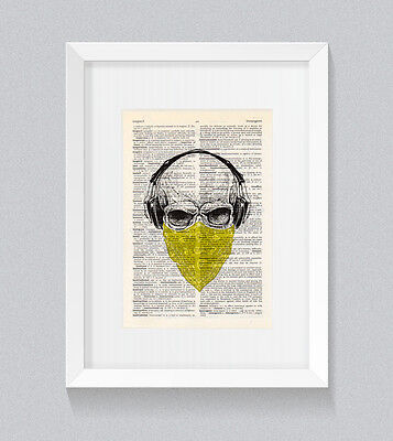 Yellow Skull Headphones Bandana Vintage Dictionary Book Print Wall Art • 5£