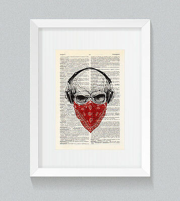 Red Skull Headphones Bandana Vintage Dictionary Book Print Wall Art • 5£