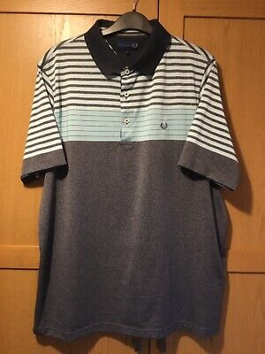Men's Lincoln Short Sleeved Polo-Shirt Blue Grey Large Excellent Condition  • 4£