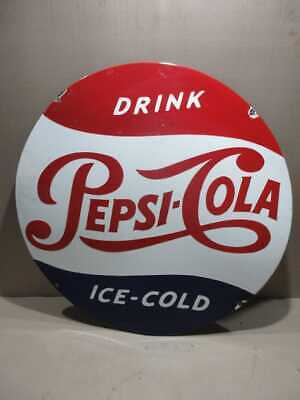 $ CDN167.17 • Buy Porcelain Pepsi Cola Ice Cold Enamel Sign Size 30  Inch Round