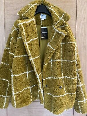 Teddy Fleece Coat. Forever 21. Size S. Mustard Check. New With Tags • 6£