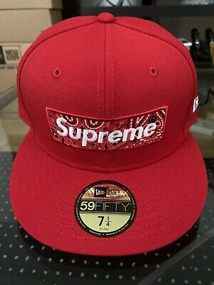 $ CDN259.51 • Buy SUPREME X New Era Bandana Box Logo Fitted Hat Red 7 1/4 Unreleased Sample Hat