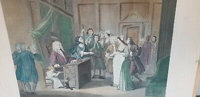 Antique Georgian Coloured Engraving After William Hogarth, The Jugde's Office • 10£