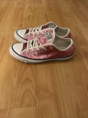 Converse All Star Trainers Pink Sequins Size 4 Uk Eu 36.5 Perfect Condition  • 2.20£