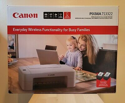 View Details Canon PIXMA TS3322 Wireless All-In-One Printer White INKJET 🌟INK INCLUDED🌟  • 54.99$
