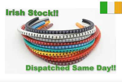 Cable Markers 0 To 9 Cable Numbers Cable 1.5 To 3.0 Sqmm Colored 500PCS • 4.77£