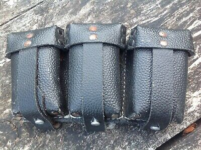 Vintage WWII German 3 Part Leather Ammo Pouch • 30£