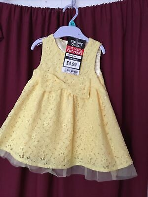 BN Age 6-9 Months Girls Yellow Lace Dress • 2£