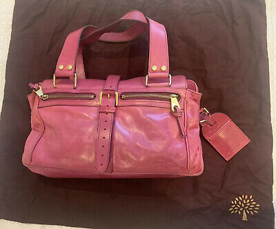Genuine Large Mulberry Mabel Leather Handbag In Fuschia Pink With Dust Cover • 95£