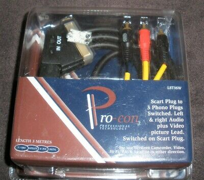 Scart Plug To Phono Plugs Switched. Pro-con Between Camcorder, Video,Hi-Fi,TV &  • 3.50£