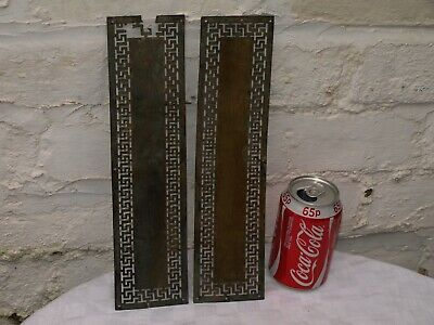 2 Antique Reclaimed Brass Door Finger Push Plates - One As Is • 9.99£
