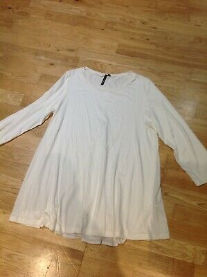 Ladies 3/4 Sleeve Cream Top, Contrast Centre Back Section  Yong Kim  Size 14 • 1.50£
