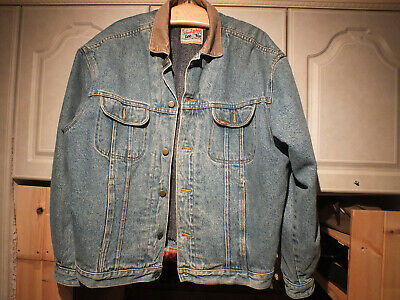 LEE STORM RIDER Vintage Blanket Lined Denim Trucker Jacket Size L Good Condition • 25£