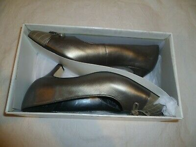 Equity Pewter/silver/grey Leather Low/mid Heel Court Shoes,uk 6/eu 39,new In Box • 12.99£