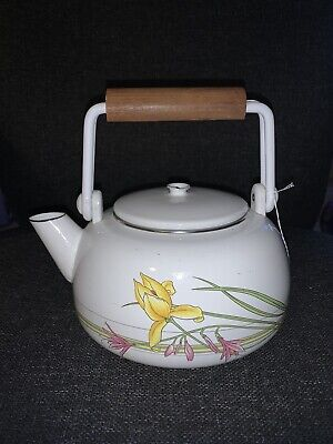 Colony Teapot Kettle Vintage Enamel Painted Canal  Narrowboat Flowers • 4.99£