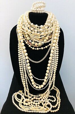 $ CDN19.99 • Buy Faux Pearls Vintage Costume Jewelry Lot 2Lbs Wearable, Resell, Crafts