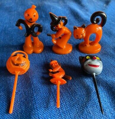 $ CDN76.54 • Buy Vintage Halloween Cupcake Cake Figural Toppers 1960s Hard Plastic Witch Cat JOL