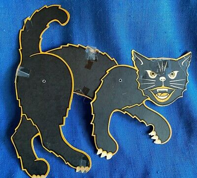 $ CDN47.52 • Buy Vintage 11  1960's Die Cut Jointed Black Cat Halloween Decoration Made In USA