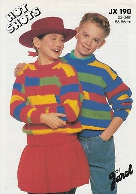 Jarol Hot Shots Dk Girls/boys Stripe Sweater & Skirt Knitting Pattern - 22-34   • 2.99£