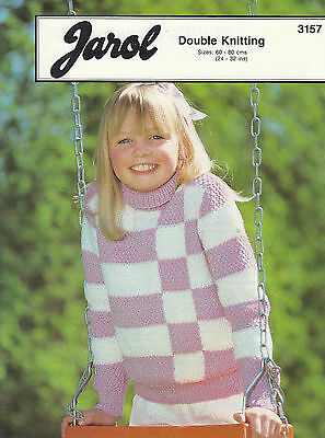 Jarol Dk Girls Check Sweater Knitting Pattern - 24-32   • 2.50£