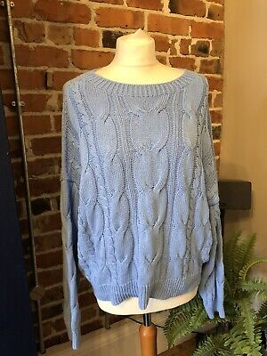 £10 • Buy Stradivarius Blue Cable Knit Sweater Jumper Detail Round Neck Large Used