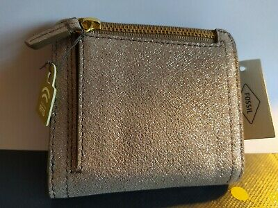 FOSSIL Logan Small Bifold Leather Purse Wallet Champagne Gold Sparkle Gift Women • 9.99£