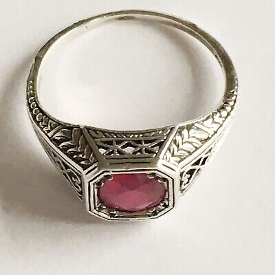 Fine Vintage 925 Solid Silver Ruby Solitaire Ring Quality U.K Size N 2.2g • 34.95£