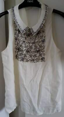 River Island White Top Size 8 With Jewellery Effect Collar • 7£