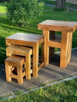Solid Oak Nest Of Tables Used • 70£