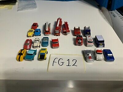 Micro Machines Job Lot 21 Vehicles Inc 3 Fire Engines, Chief And Police Car FG12 • 10£