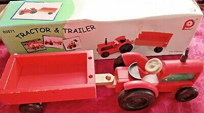 Pintoy Wooden Tractor And Trailer John Crane Toys • 2£