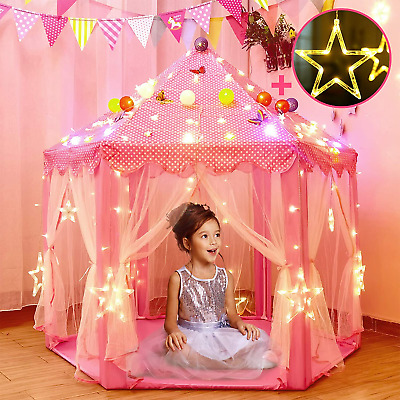 Princess Tent For Girls With Large Star Lights, Kids Play Tents Toys For Fairy • 49.21£