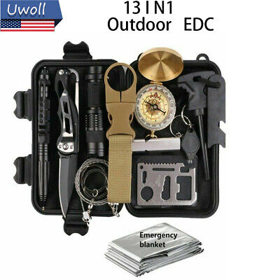 $23.92 • Buy Survival Kit 13 IN 1 Emergency Tactical Defense Equipment Outdoor Camping Tools