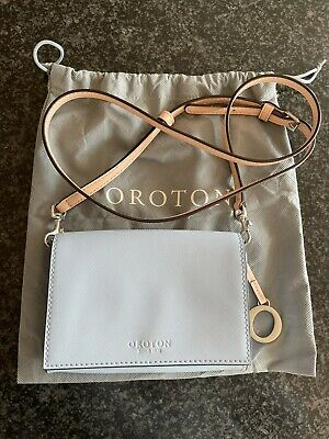 AU50 • Buy Excellent Pre-loved Oroton Crossbody Bag Light Blue With Bag Charm And Dust Bag