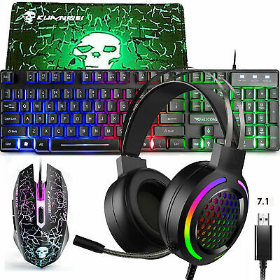 AU72.89 • Buy Gaming Keyboard Mouse And RGB Headset Combo Rainbow LED Backlit For PC PS4 Xbox
