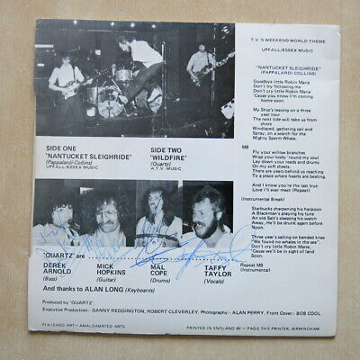 £29.99 • Buy QUARTZ Nantucket Sleighride / Wildfire UK 7  In Picture Sleeve. Fully Signed