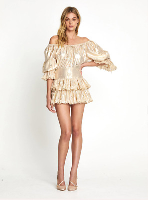 AU120 • Buy Alice Mccall Gold Electric Galaxy Playsuit Sample - Size 8 Au/4 Us (rrp $495)