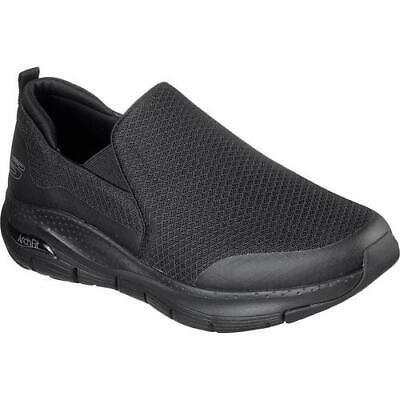 Skechers Arch Fit Mens Black Extra Wide Fit Slip On Trainers Shoes Size UK 6-13 • 52.49£