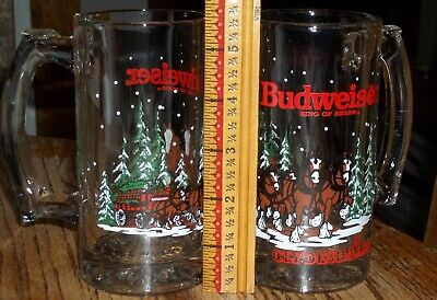 $ CDN19.44 • Buy 2 Vintage 1989 Budweiser Clydesdale Christmas Holiday Glass Steins Beer Mugs