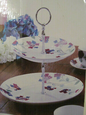 £12.99 • Buy Porcelain Cake Stand  Hydrangea  - 2 Tier Cake Stand By Arthur Wood - NEW, Boxed