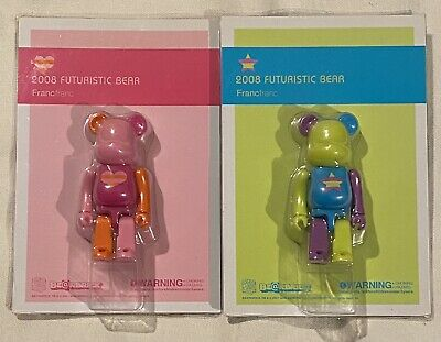 $35 • Buy BE@RBRICK 100% Francfranc FUTURISTIC BEAR Set Lot Of 2 Rare Medicom Bearbrick