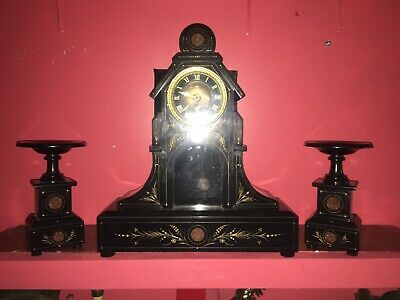 Antique Slate Marble Mantle French Clock Set • 995£