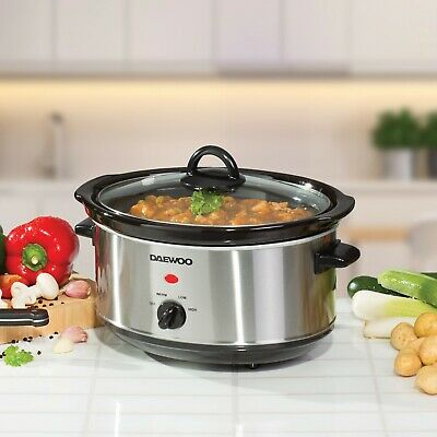 Daewoo Electric Slow Cooker 3.5L Non Stick Bowl Crock Pot Stainless Steel • 19.99£