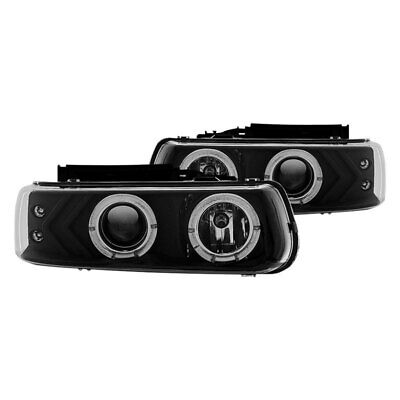 $90.19 • Buy For Chevy Silverado 2500 HD 01-02 Black Halo Projector Headlights W Parking LEDs