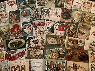 Lot Of 100 Holiday Greetings Postcards~Christmas~Easter~Valentine's ~SANTA-c414 • 74.09£