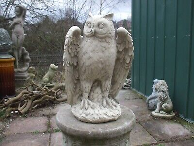 Large Stone Cast Standing Open Wing Owl Garden Statue • 28£